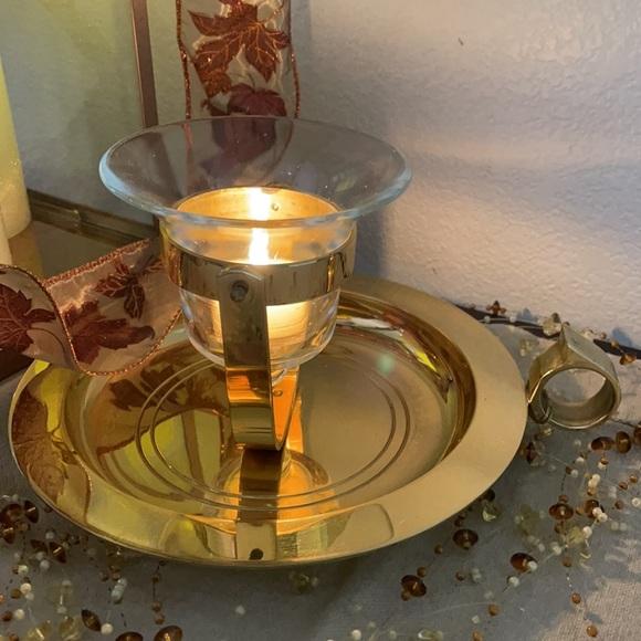 PARTYLITE BRASS & GLASS T.L.HOLDER TABLETOP/SCONCE